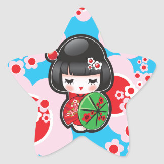 Kawaii Kokeshi Doll Star Sticker