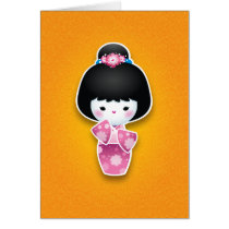 Kawaii Kokeshi (Pink) Card