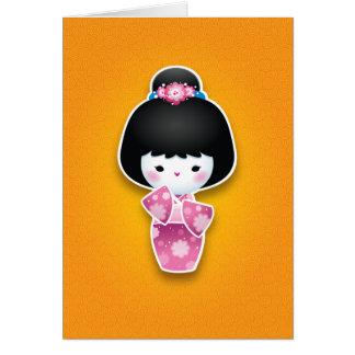 Kawaii Kokeshi (Pink) Card