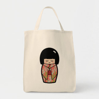 Kawaii Kokeshi (Pink) Japanese Doll Tote Bag