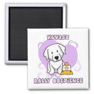 Kawaii Kuvasz Rally Obedience 2 Inch Square Magnet