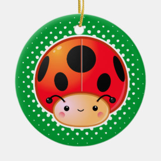 Kawaii Ladybug Mushroom Ornament