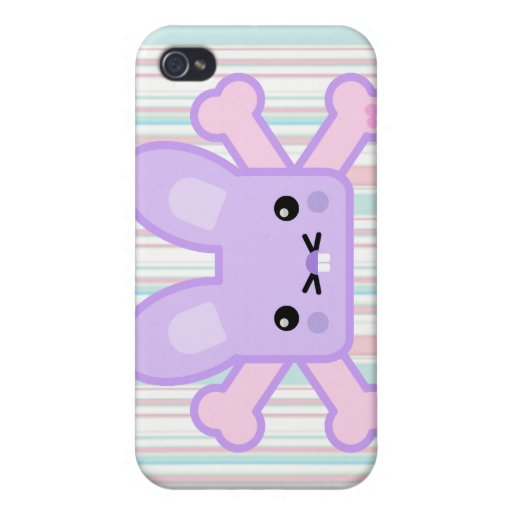kawaii lavender crossbones bunny cover for iPhone 4