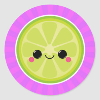 Kawaii Lime on Purple Starburst Classic Round Sticker