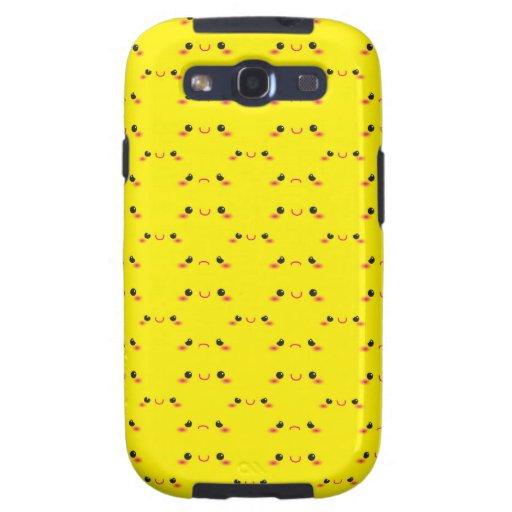 Kawaii lindo estupendo hace frente en amarillo galaxy s3 fundas