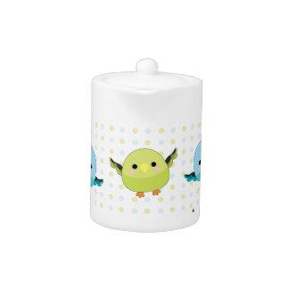 Kawaii Lineolated Parakeet Gear Teapot