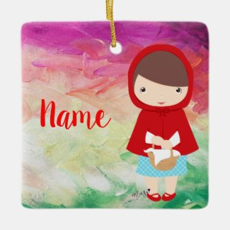 Kawaii Little Girl Red Ornament