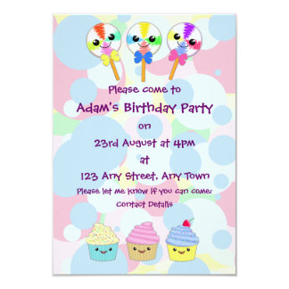 Kawaii Lolly Pops and Cupcakes Children's Party 3.5x5 Paper Invitation Card