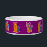 "Kawaii Long and Short Hair Yorkie Cartoon Dogs Bowl<br><div class=""desc"">This cute vector illustration of long haired and short haired Yorkshire terrier pups on a purple floral background was designed by Kaz Foxsen.</div>"