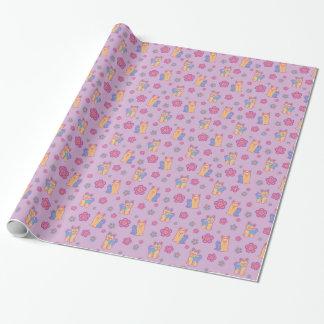 Kawaii Long and Short Hair Yorkie Cartoon Dogs Wrapping Paper