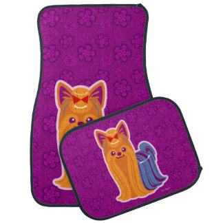 Kawaii Long Hair Yorkie Cartoon Dog Car Mat