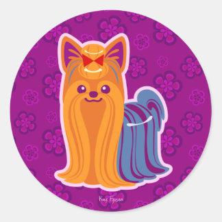 Kawaii Long Hair Yorkie Cartoon Dog Classic Round Sticker