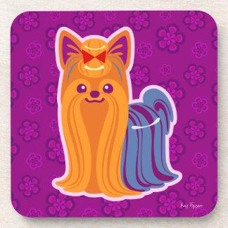 Kawaii Long Hair Yorkie Cartoon Dog Drink Coaster