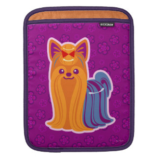 Kawaii Long Hair Yorkie Cartoon Dog iPad Sleeve