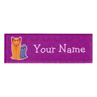 Kawaii Long Hair Yorkie Cartoon Dog Name Tag