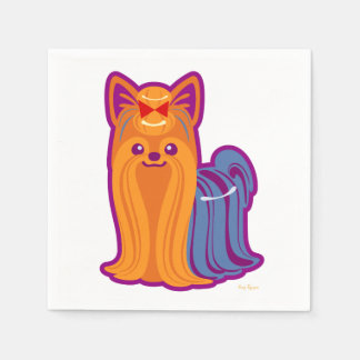 Kawaii Long Hair Yorkie Cartoon Dog Napkin