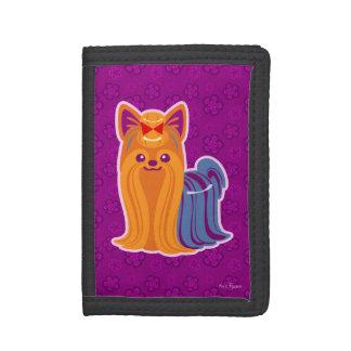Kawaii Long Hair Yorkie Cartoon Dog Tri-fold Wallets