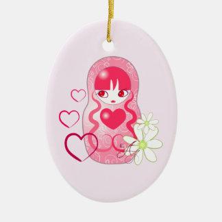 Kawaii Love Matryoshka Double-Sided Oval Ceramic Christmas Ornament