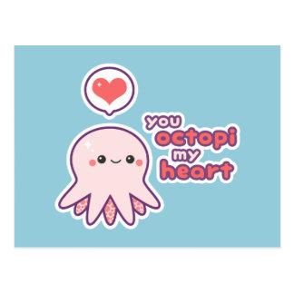 Kawaii Love Octopus Postcard