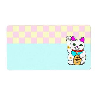 Kawaii Lucky Cat Maneki Neko Checkerboard Shipping Label