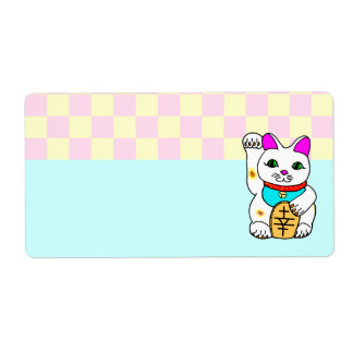 Kawaii Lucky Cat Maneki Neko Checkerboard Label