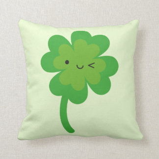 Kawaii Lucky Four Leaf Clover Reversible Throw Pillow