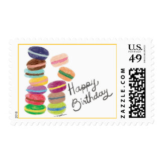 Kawaii Macaroons Happy Birthday Postage Stamps