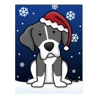 Kawaii Mantle Great Dane Christmas Postcard