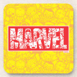 Kawaii Marvel Logo With Super Hero Pattern Coaster