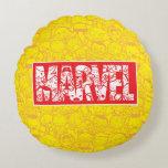 Kawaii Marvel Logo With Super Hero Pattern Round Pillow