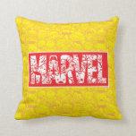 Kawaii Marvel Logo With Super Hero Pattern Throw Pillow