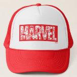 Kawaii Marvel Logo With Super Hero Pattern Trucker Hat