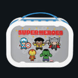 """Kawaii Marvel Super Heroes Lunch Box<br><div class=""""desc"""">These cute Marvel Super Heroes stand together,  featuring Captain America,  Luke Cage,  Thor,  Iron Man,  and Hulk.</div>"""