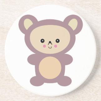 kawaii mauve teddy bear beverage coasters