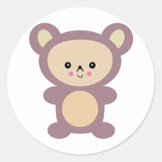 kawaii mauve teddy bear classic round sticker
