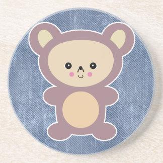 kawaii mauve teddy bear coaster