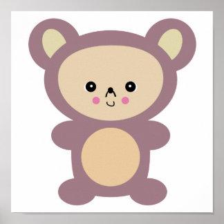 kawaii mauve teddy bear posters