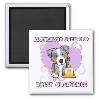 Kawaii Merle Australian Shepherd Rally Obedience 2 Inch Square Magnet