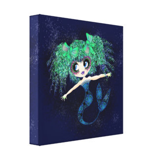 Kawaii Mermaid so cute Canvas Print