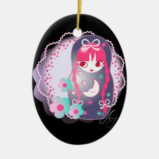 Kawaii Midnight Matryoshka Ceramic Ornament