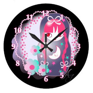Kawaii Midnight Matryoshka Large Clock