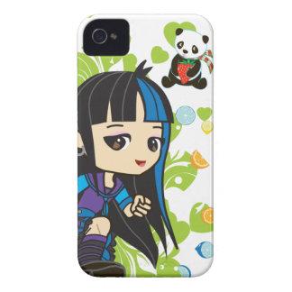 Kawaii Mika la panda punky 4S/4 del chica iPhone 4 Cárcasa
