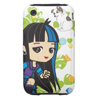 Kawaii Mika the Punk Girl Chibi iPhone 3 Tough Covers