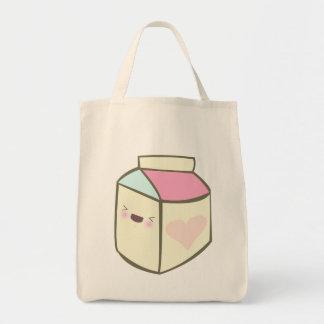 kawaii milk carton happy drink tote bag