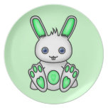 Kawaii Mint Green Bunny Dinner Plates