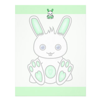Kawaii Mint Green Bunny Letterhead