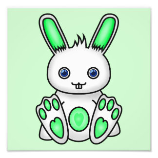 Kawaii Mint Green Bunny Photo Print