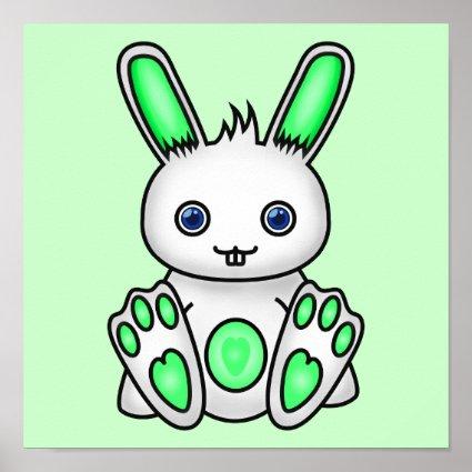 Kawaii Mint Green Bunny Print