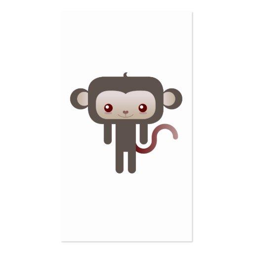 Kawaii monkey business card template
