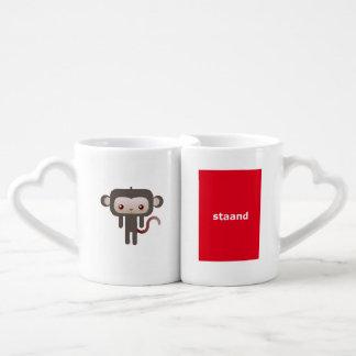 Kawaii monkey coffee mug set